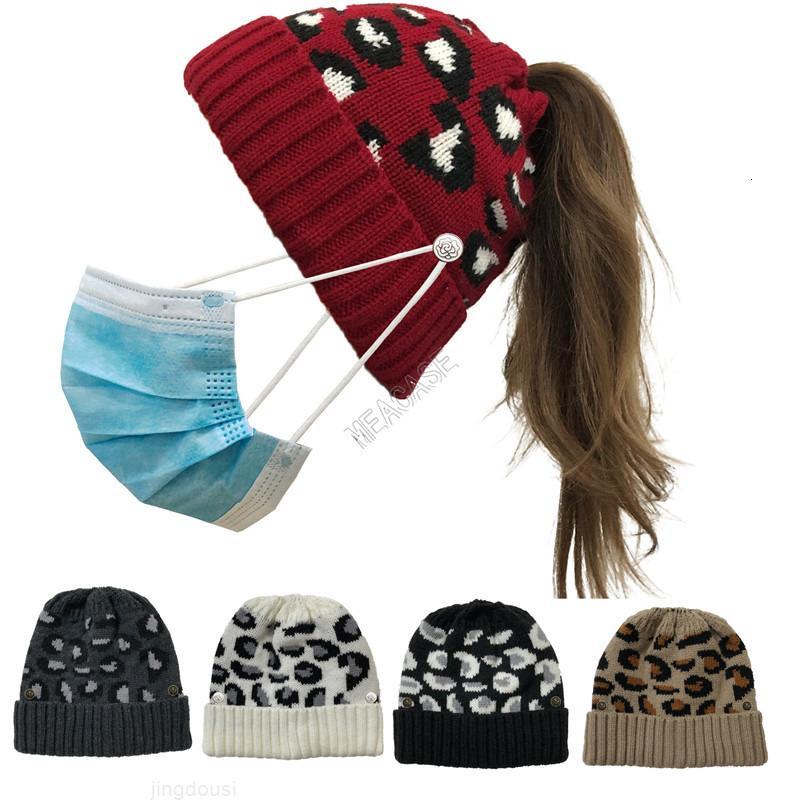 con leopardo maschera calda maglieria donna berretti fazzoletto moda cappello pulsante cranio tappo moda coda di cavallo skullies casco ski sport hearwear d102za