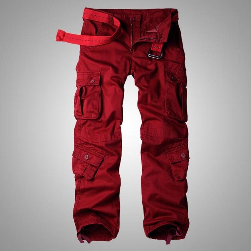 Man Army Military Green Cargo Pants più il formato multi-tasca Tuta casuale rigonfio Pure Color Pantaloni Uomini Pantaloni Work Plus Size 42