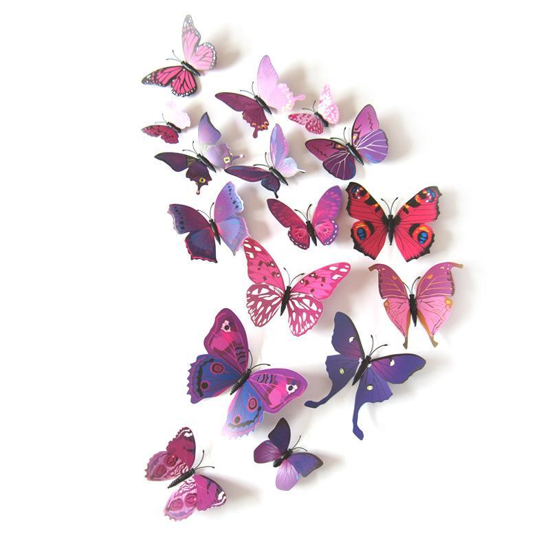 12 unids 3D mariposa etiqueta de la pared Simulación de PVC Simulación estereoscópica Mariposa Mural Etiqueta de frigorífico Imán Art Decal Solicitud de niño Decoración para el hogar PPA3214
