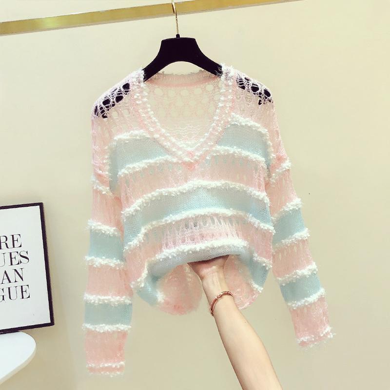 2020 Frühling und Herbst New Color Hohle-heraus dünne Strickjacke Frauen Overall koreanische gestreifte lose Pullover weibliche Knit Pullover Pullover