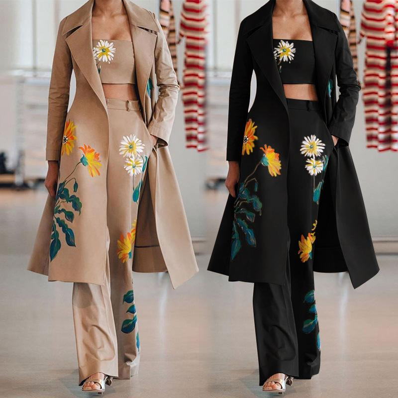 Fashion Designer Womens Suit Formal Wear Outwear Abbigliamento Cina Ricamo Cappotti casual Cappotti fitness Sexy 3pcs Pant Bra Camicie Due pezzi Pantaloni