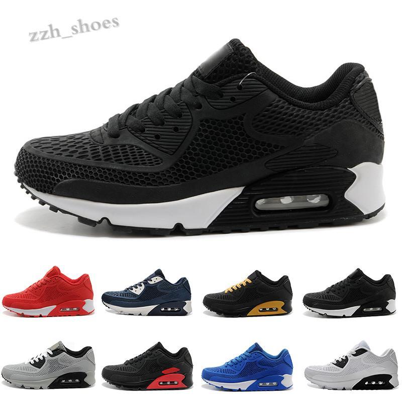 NIKE AIR MAX 90 KPU Yeni Erkekler Bayan Ayakkabı Klasik 90 KPU Erkekler Ve Kadın Ayakkabı Siyah Kırmızı Beyaz Spor Trainer Yastık Yüzey Nefes PR07