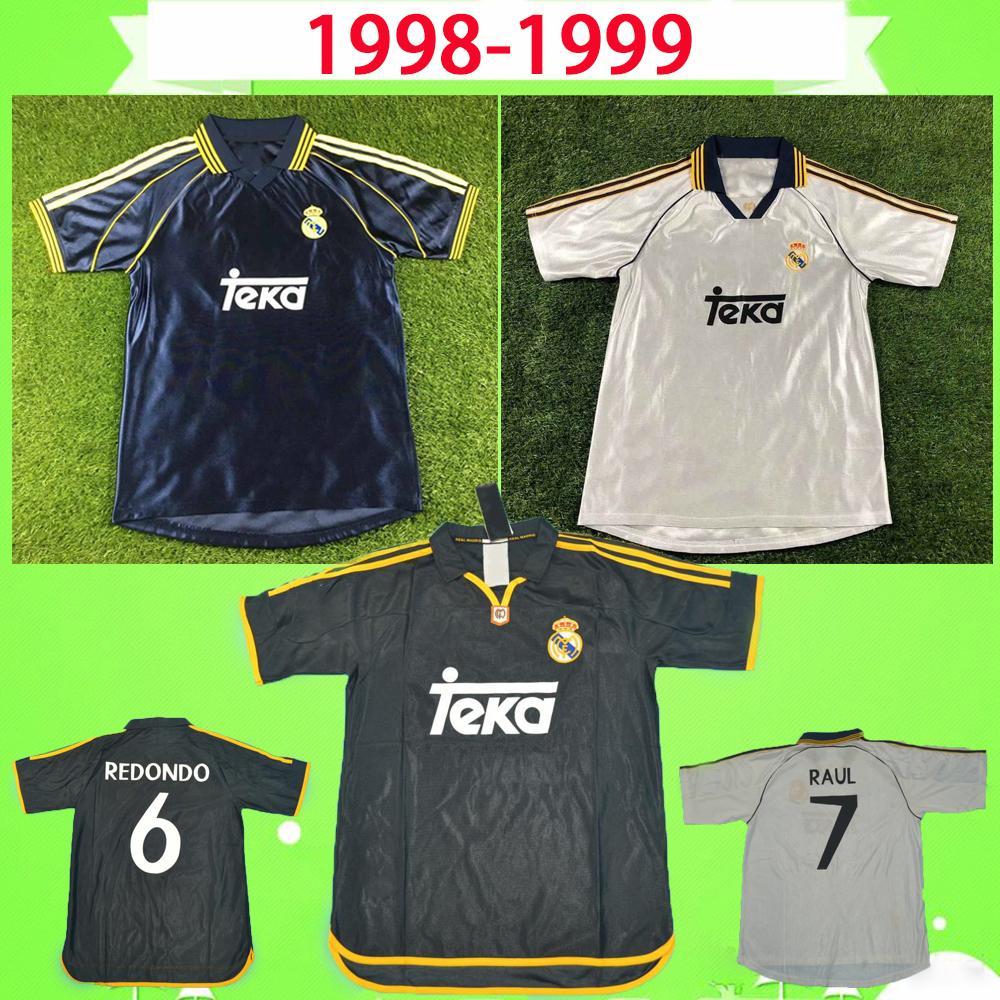 # 7 RAUL R.CARLOS HIERRO REDONDO MORIENTES 1999 2000 Real Madrid maglia da calcio retrò 99 00 camicia da calcio vintage classica camiseta de futbol soccer jersey football shirt