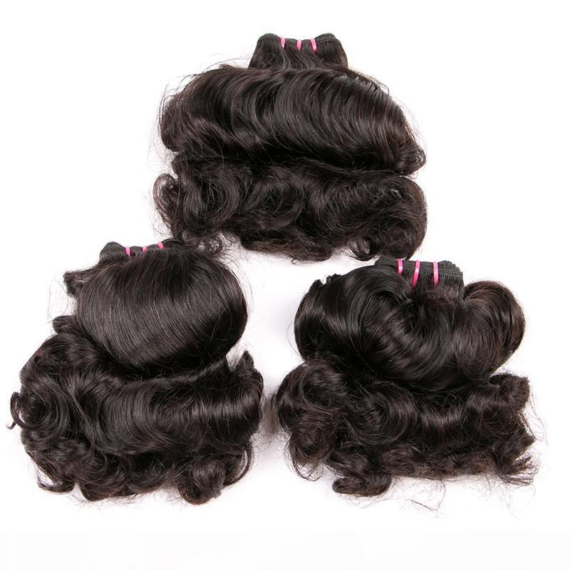 Top Quality Bouncy Curly Double Tirage Humain Cheveux Brésilien Cheveux Vierge Tissu Funmi Cheveux Wefts 10-22 pouces