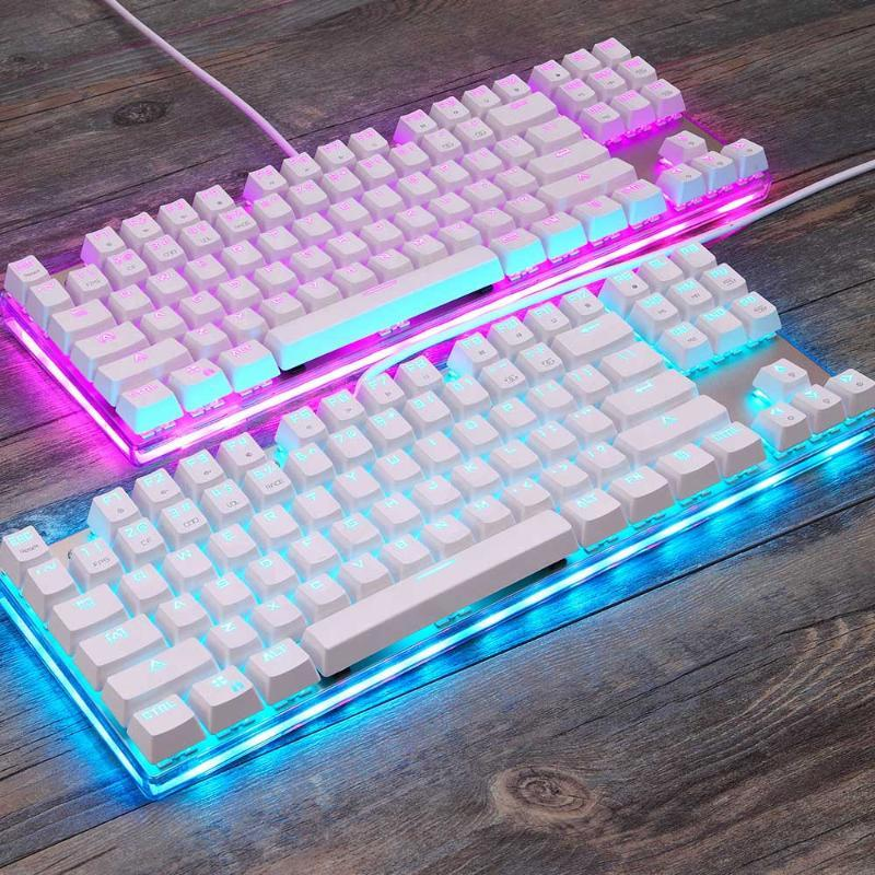 Игра Gaming Mechanical Keyboard игра Анти-призрачный русский / США Синий черный красный коммутатор с подсветкой Проводная клавиатура для Pro Gamer Dota CSGO