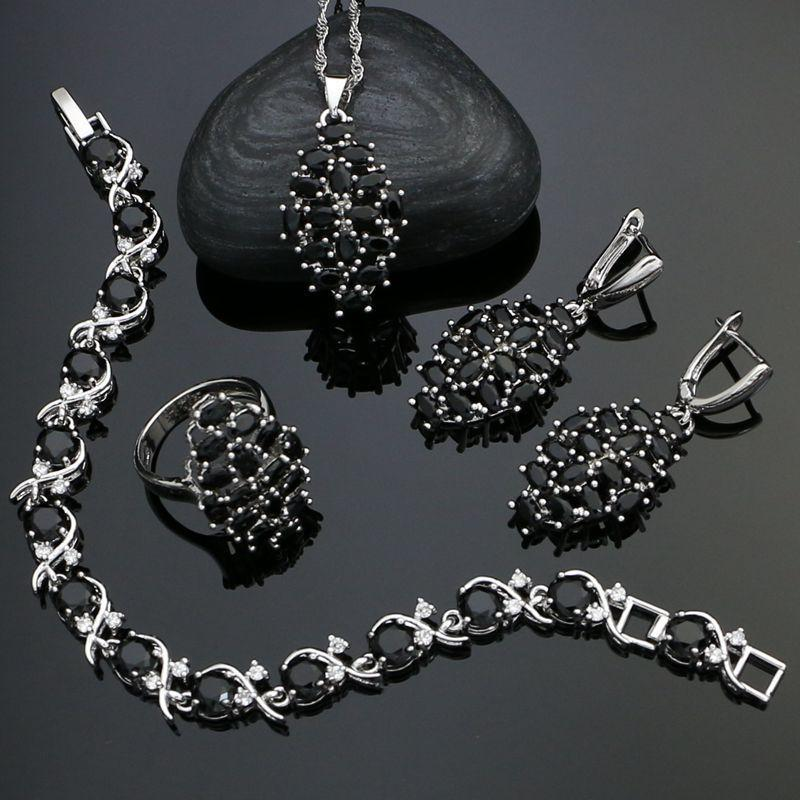 Le donne punk insiemi dei monili per 925 parti d'argento Accessori nero Cubic Zirconia orecchini / ciondolo / collana / anello / braccialetto