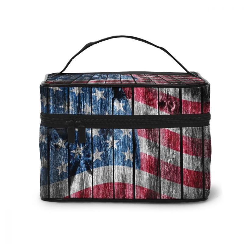 Borsa cosmetica delle donne Makeup Case in legno Bandiera USA Make up Sacchetto di stoccaggio Borsa da bagno