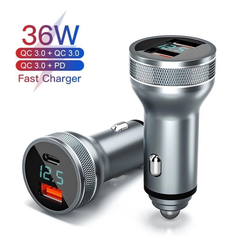 USB 자동차 충전기 PD 36W 빠른 충전 3.0 빠른 충전 충전기 듀얼 포트 자동 유형 C QC PD 3.0 전화 요금