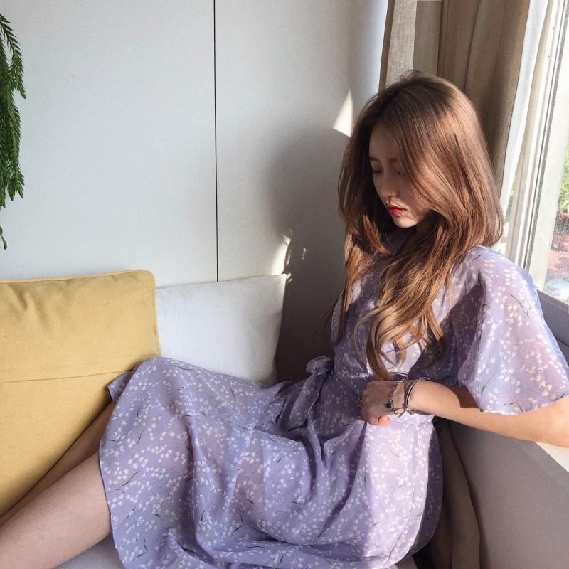 Plus de taille nouvelle robe d'été filles Boho fête mousseline féminine robe vintage violet imprimer manches courtes robes robes robe vestido T200623