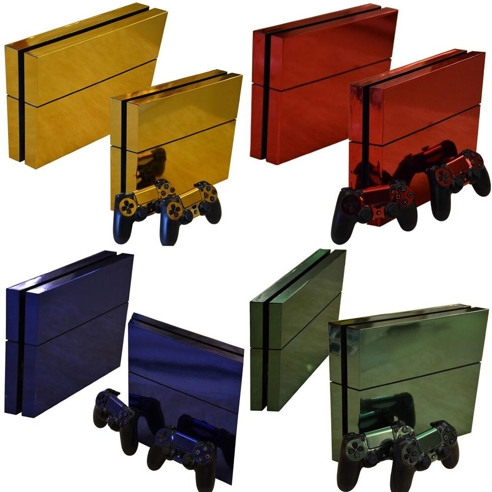 Metel escovado ouro ps4 pele adesivo decalque vinil para sony playstation 4 console e 2 controladores ps4 slim skin adesivo w1219