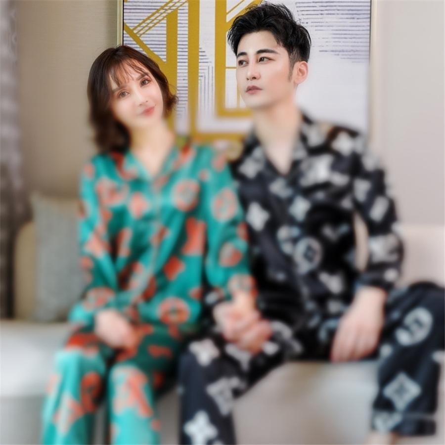 Senhoras floral impresso profundamente cinza elegante elegante sleepwear manga larga solta 4 1 pcs pijamas conjunto Homewear casual desgaste para primavera 201009 # 89111111