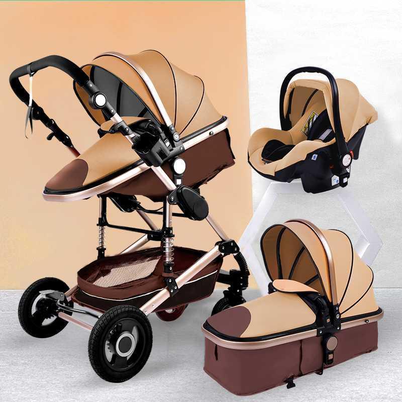 Lüks 3 1 Bebek Arabası Taşınabilir Yüksek Peyzaj Altın Siyah Bebek Arabası Katlanır Çok Fonksiyonlu Yenidoğan Bebek Arabası1