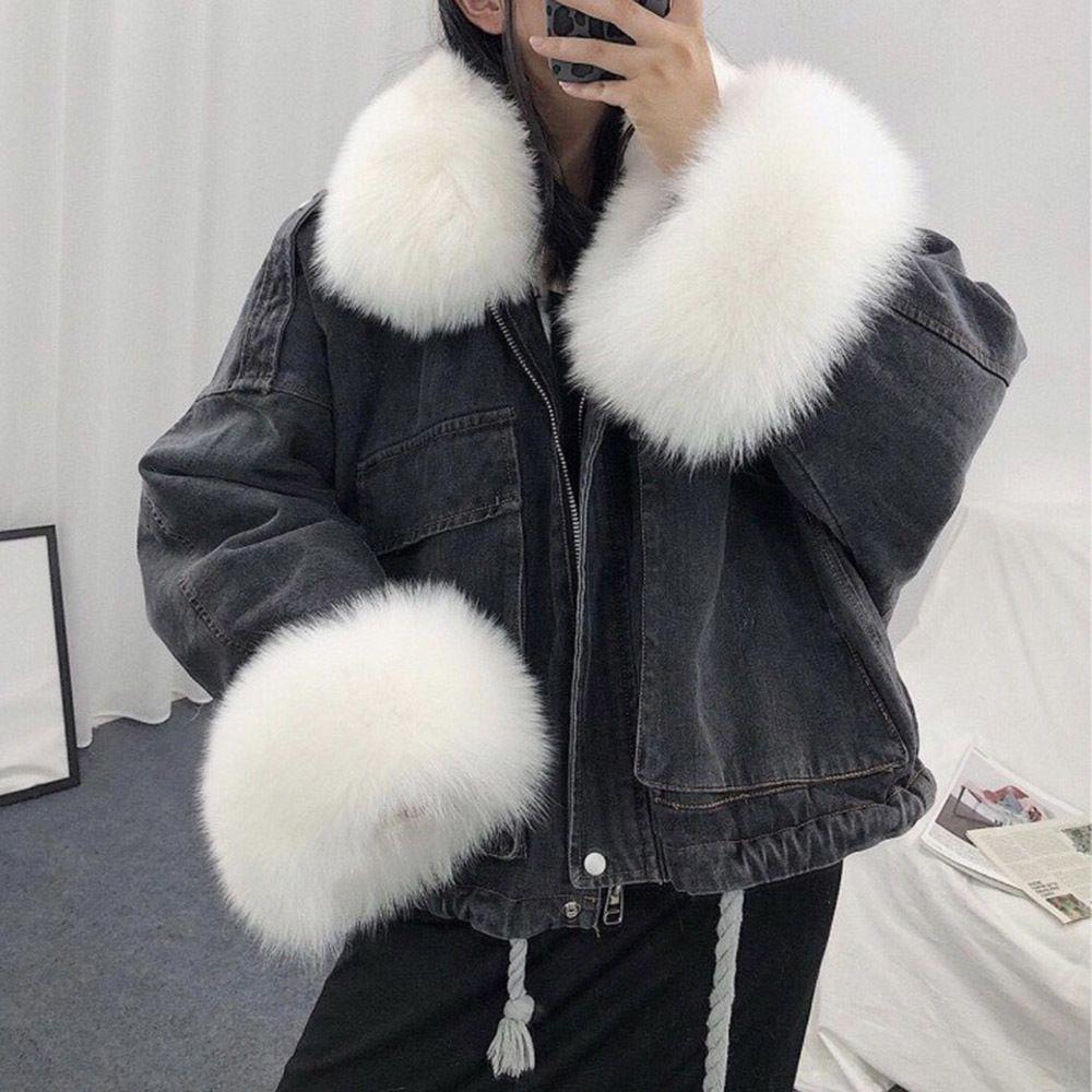 Куртка женщины джинсовой вскользь куртка женщины с длинным рукавом пальто Толстого Элегантной зимы Outwear Офис Дамы Твердое Streetwear искусственного мех 201013
