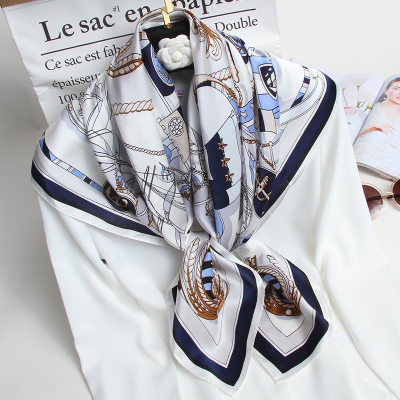 Pure Piazza della Seta Donne Sciarpe Navy lusso seta Fazzoletto per le donne 100% reale naturale sottile Bandana Bandana 88x88cm