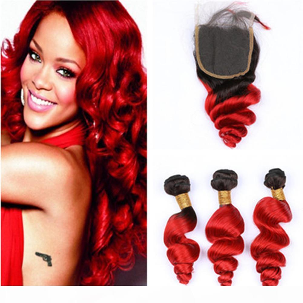 #1B Red Ombre Loose Wave Virgin Peruvian Hair Weaves with Top Closure 4Pcs Lot Bright Red Ombre 4x4 Front Lace Closure wtih 3Bundles