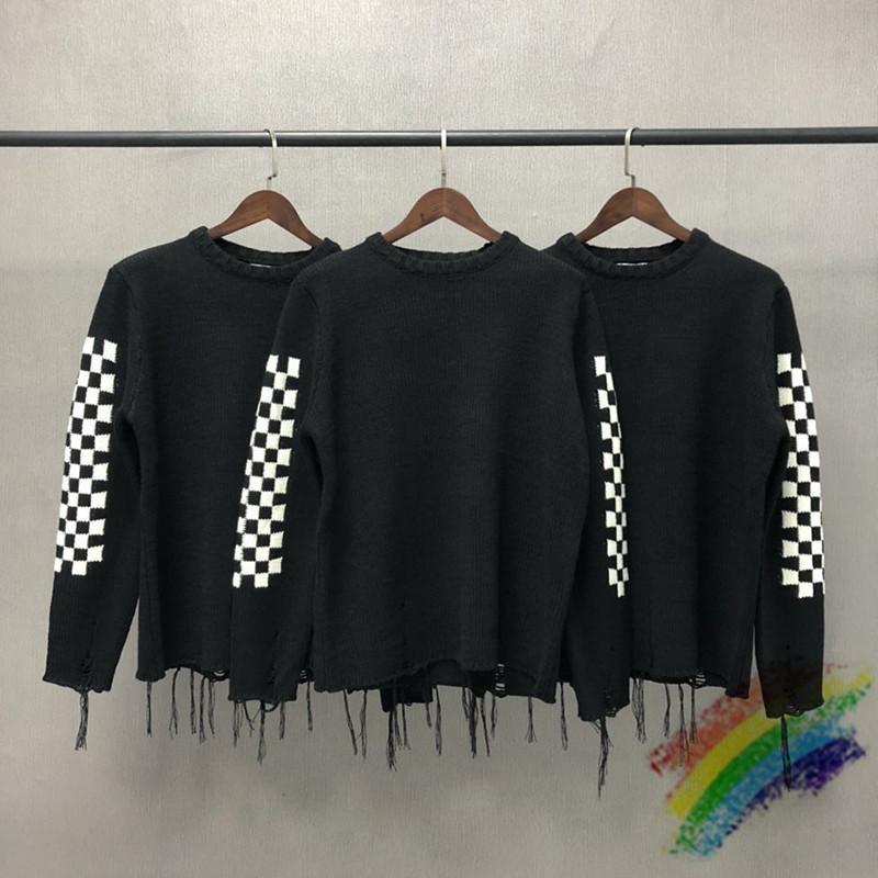 Siyah-Beyaz Kareler Rhuce Örgü Kazak Erkek Kadın Rhude Kazak 1: 1 Yüksek Kaliteli Püskül Örme Sweatroat Checkerboard