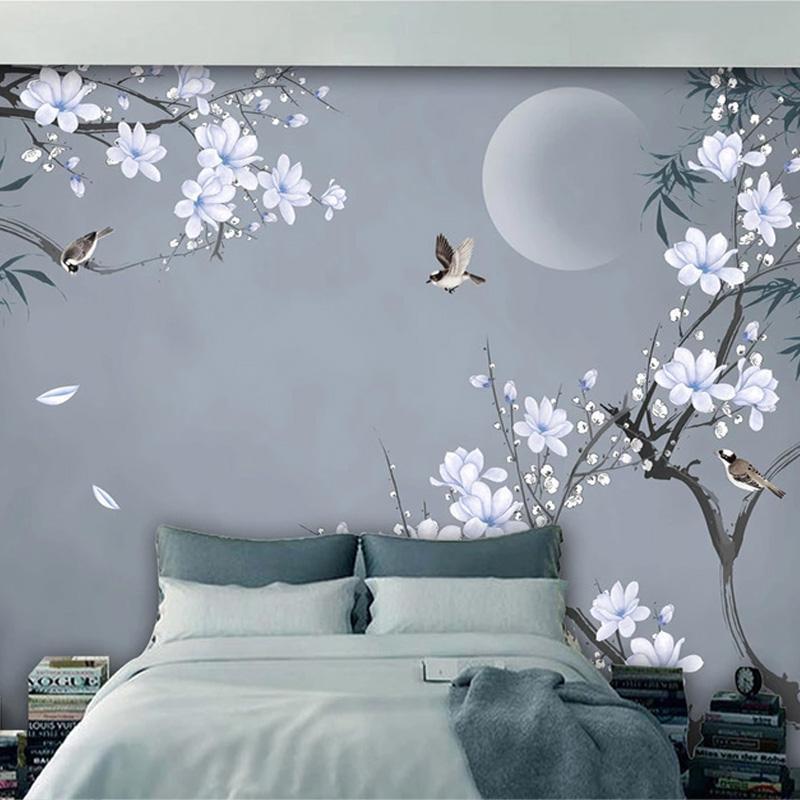 Photo papier peint style chinois peint à la main en bambou feuille magnolia fleurs oiseaux 3d muraux muraux salon chambre peinture murale