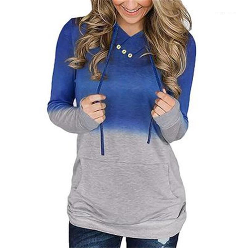 Tie-Dye Gradient Hoodies Designer neuer weiblicher V-Ausschnitt Langarm-Kapuzenpullover Fashion Trend Herbst loser beiläufige Taschen-Hoodies Damen