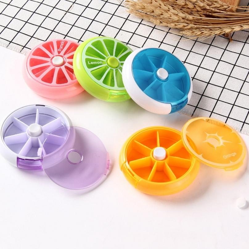 5Pcs Pill Box, Portable Automatic Rotary Round 7 Days Pill Cases Tray Medicine Box Holder Travel Pill Bottle