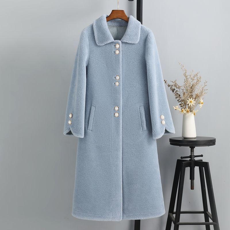 Женские меховые искусственные женщины 2021 зимняя мода средне длинные овечьи пальто женские реальные ягненные именные женские женские твердые цветные тонкие куртки M403