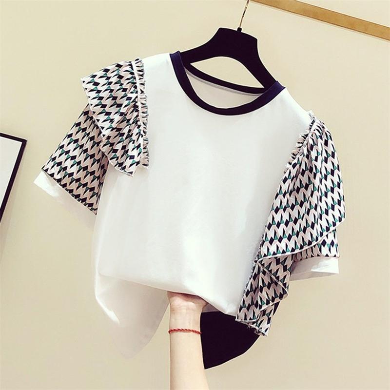 Summer Korean Women T-shirt New Round Neck Irregular Beveled Decorative Short-sleeve Shirt Fashion Casual Female Tops 200925
