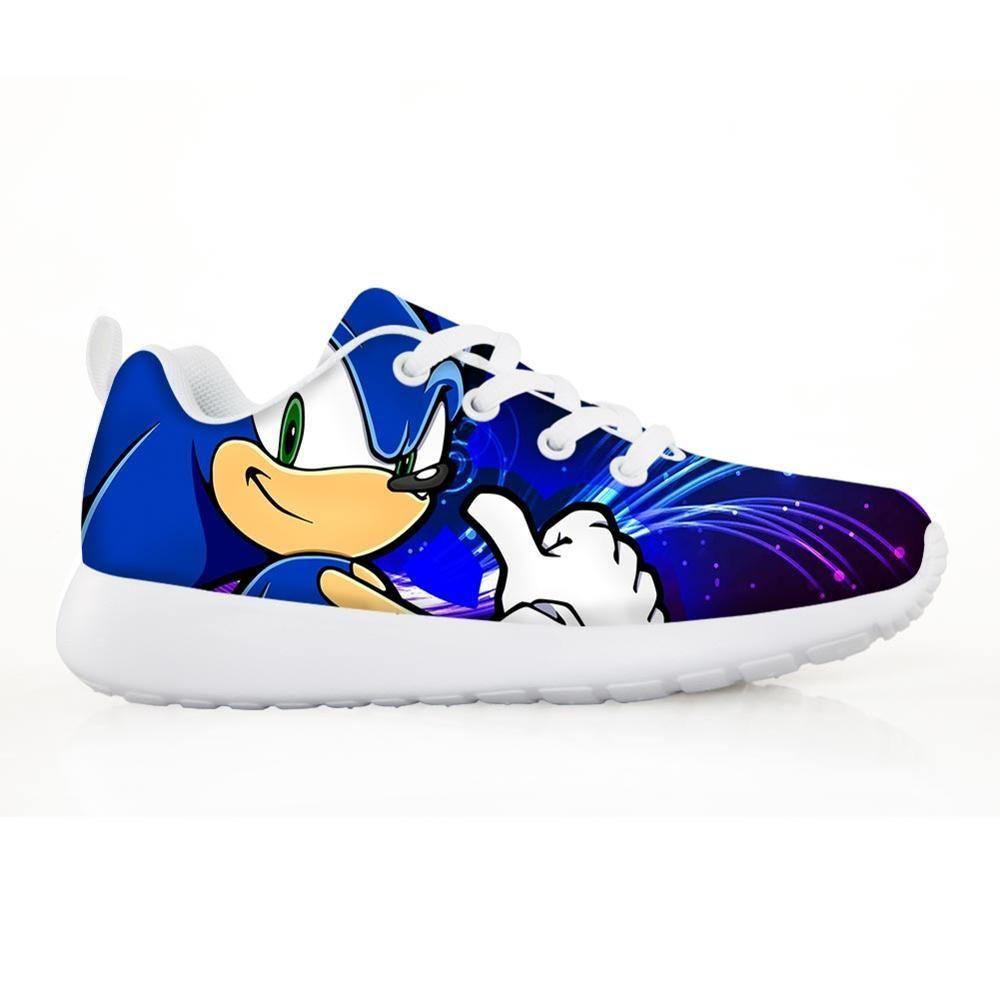 2019 Moda para niños Zapatillas para niños para niños Boys Girl Pretty Sonic The Hedgehog Kids Casual Flats Shoes de encaje de aliento 1007