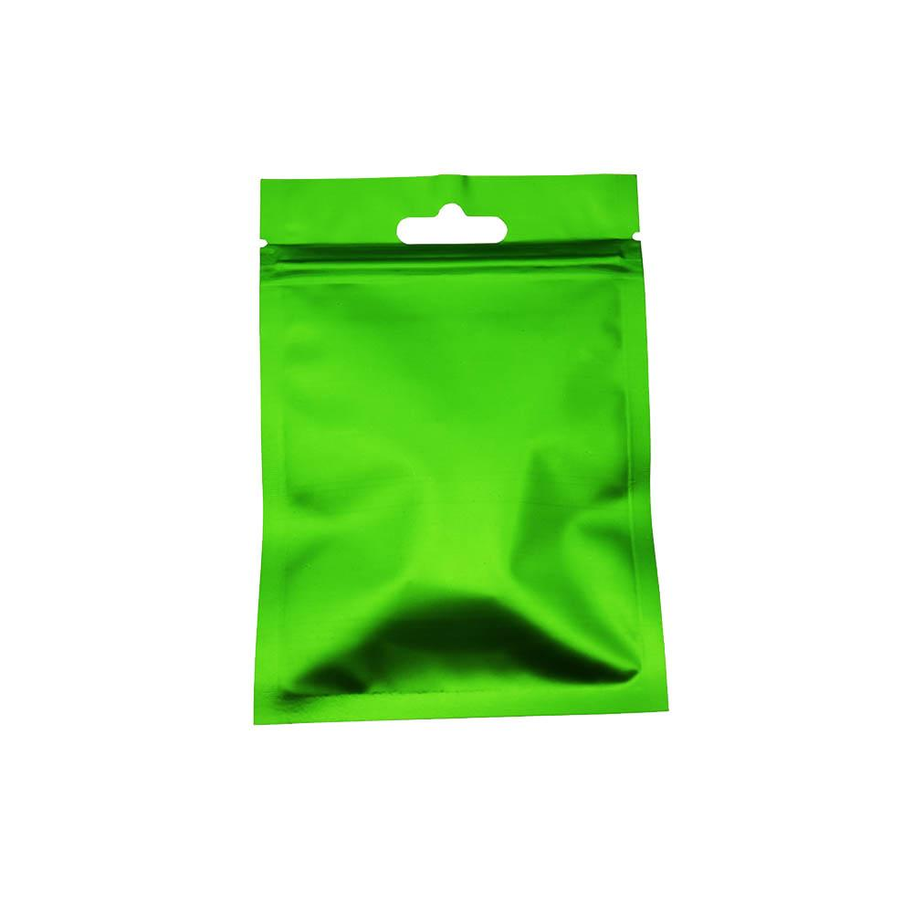 100pcs / Lot 8.5 * 13 centímetros Verde Zip Package Bloqueio Auto Seal saco de plástico folha de alumínio Armazenamento de Alimentos Matte Limpar Poly Zipper Flat Top Embalagem Pouch2