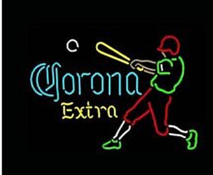 Corona Extra Baseball Player Neon Sign Commercial Custom Handmade Beer Bar Club Pub Game Room Sport Display Real Glass Neon Signs 17 X14