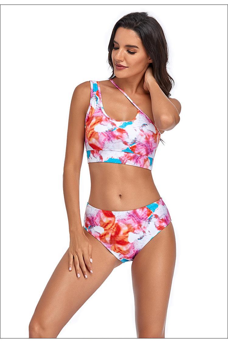 المرأة مثير ملابس السباحة شاطئ البيكينيات مجموعة 2021 جديد عدم التماثل حزام الأزهار طباعة قطعتين عالية الخصر المايوه السباحة الاستحمام الدعاوى بحر