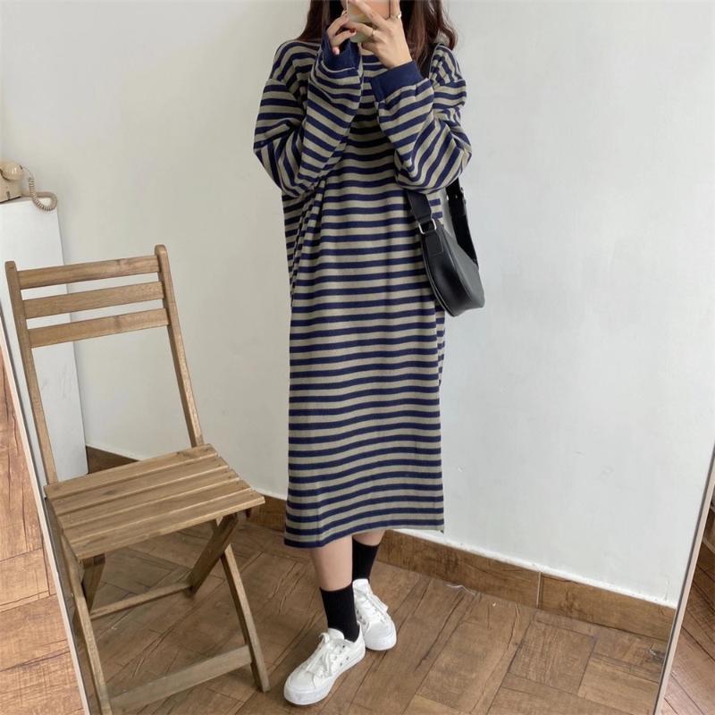 HziriP 2020 Hiver femmes Maxi Robe en maille rayée sélectionl Casual O Col droit fendu élégant doux Femme Office Lady