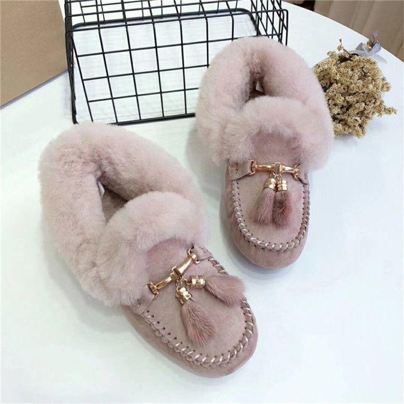 Neue Art und Weise Knöchel für Frauen-Schnee-Woll-Winter-echtes Leder Weibliche beiläufige Aufladungen rutschfeste Schuhe 201021