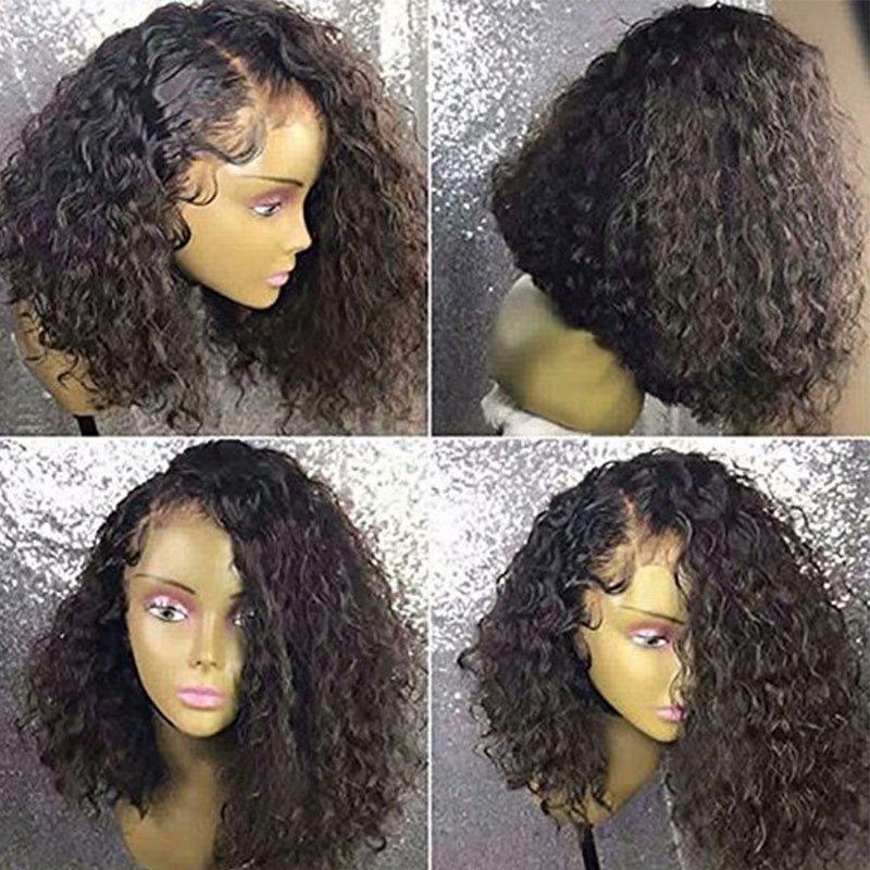 180% плотность короткие вьющиеся кружевные фронтальные парики человеческих волос для черной женщины предварительно сорванный боковой части переднего кружева парик с обесцвеченными узлами