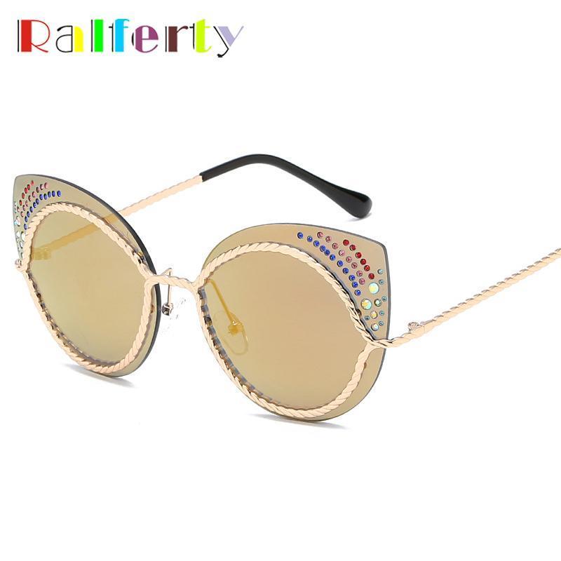Ralferty Vintage Senhoras Senhoras Olhos Óculos de Sol Mulheres Designer Luxo Crytal Sun Óculos Femininos Sunglass Oculos Feminino R66143