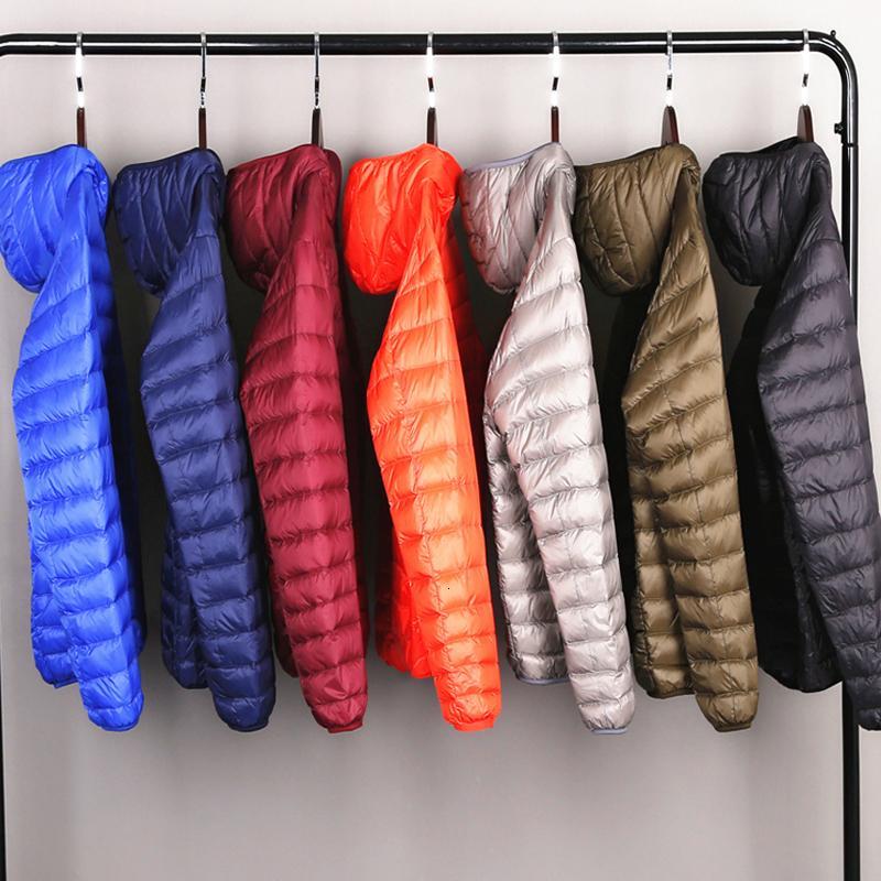 Erkekler Dört-Mevsim Ultra Hafif Packable Aşağı Ceket Su ve Rüzgar Dayanıklı Nefes Coat Büyük Boy Erkekler Kapüşonlular Ceketler