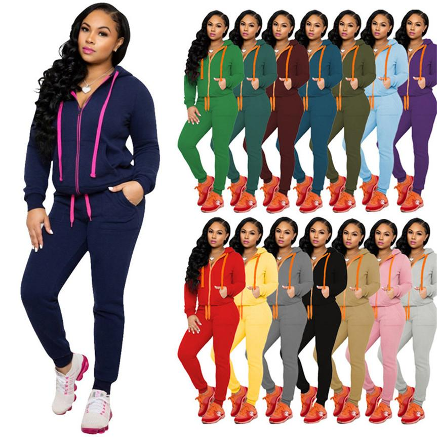 Women Sweat suit hooded 2 piece set solid color jogger suit long sleeve coat+leggings fall winter clothes sportswear sports outfit 4323