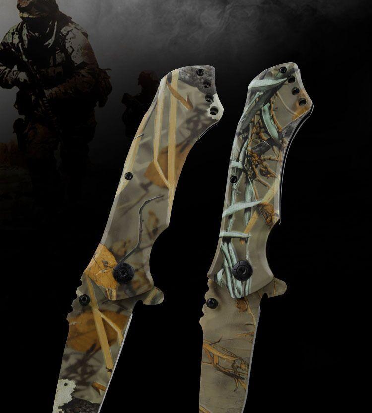 Alta dureza táticas Camping Folding faca ao ar livre sobrevivência multifuncional dobrar inoxidável steelcamouflage na moda e legal bolso Montanha
