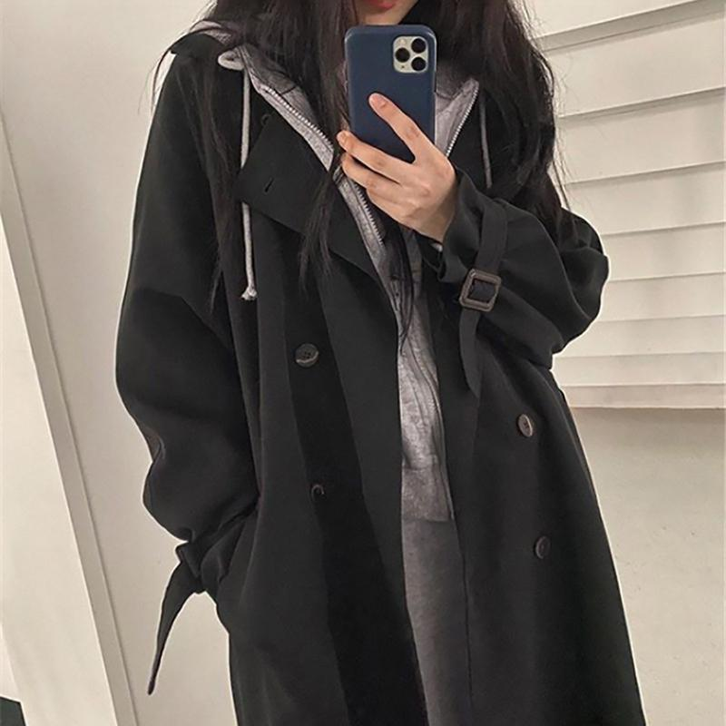 Women's Trench Coats 2021 Fashion Large Size Windbreaker Spring Autumn Korean Style Loose Mid-length Tooling Coat G652