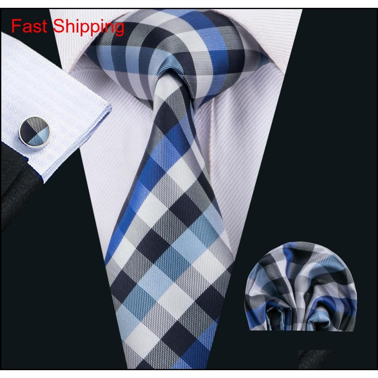 Classic Seta Ties Ties Plaid Mens Collo Cravatte Blue Tie Setsie Hanky Gemelli Set di Jacquard Tessuto Meeting Business We Qylobc Homes2007