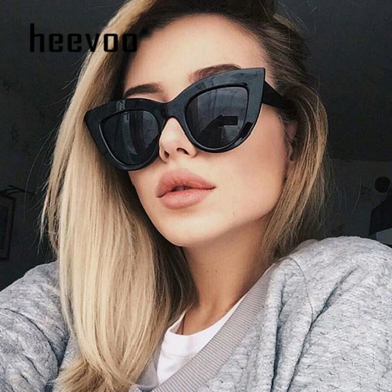 Big Cat Eye Damen Sonnenbrille Farbiges Glas-Frauen Retro Sonnenbrillen weiblich Schwarz-Rosa-Blau Cateye Sonnenbrille-Marken-Entwerfer