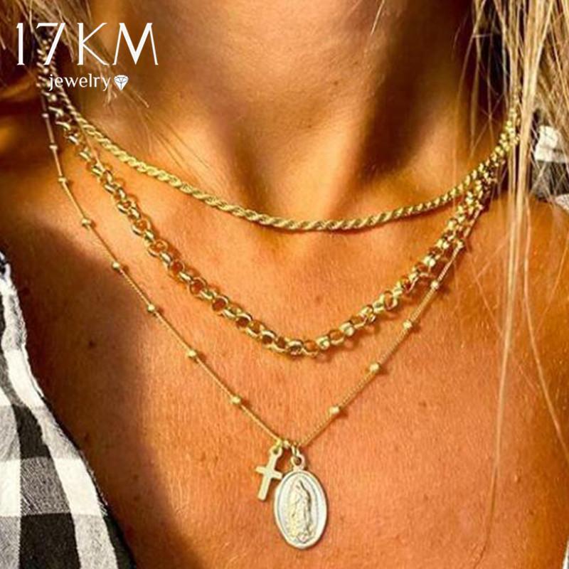 17KM Bohemian Cross Twist Chain Pendant Necklace For Women Vintage Multilayer Gold Portrait Coin Beads Choker Necklaces Jewelry