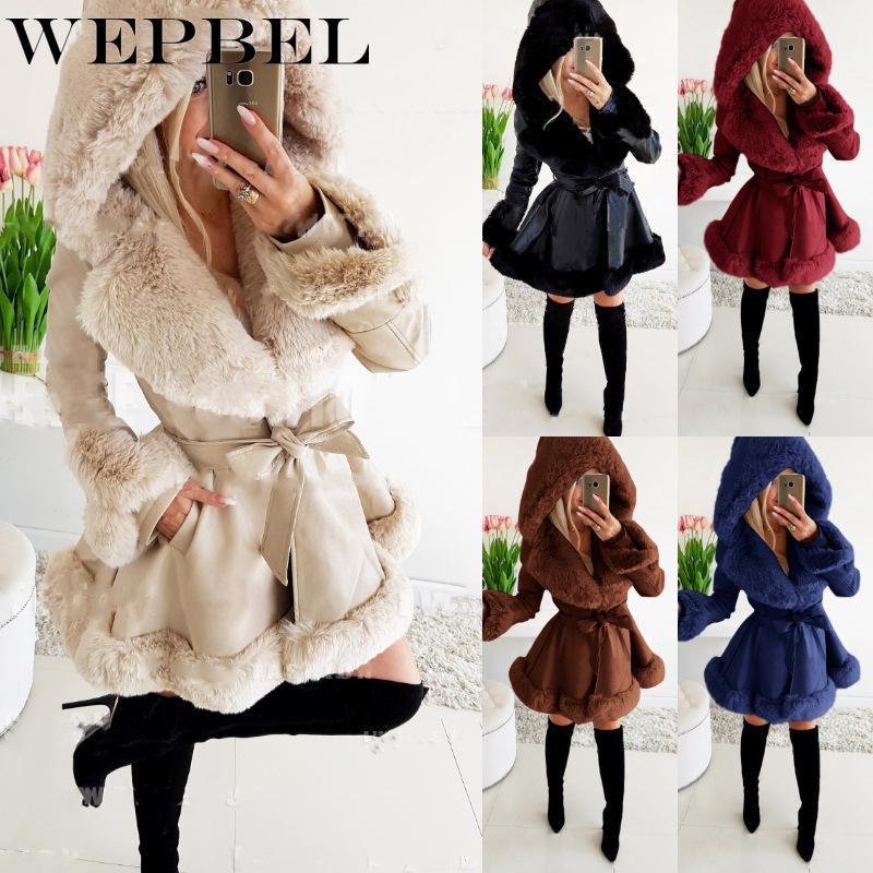 Piel de mujer Faux Webblel Long Parka Chaqueta de invierno para mujeres con cuello de la etiqueta de la capa de cinturón con capucha con capucha gruesa cálida abrigo Streetwear