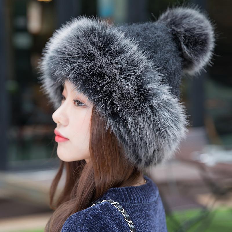 Moda Kadınlar Kış kasketleri Pom Şapka Örme Skullies Cap Şık Bayanlar Kış Kalın Rus Kazak Hat Isınma