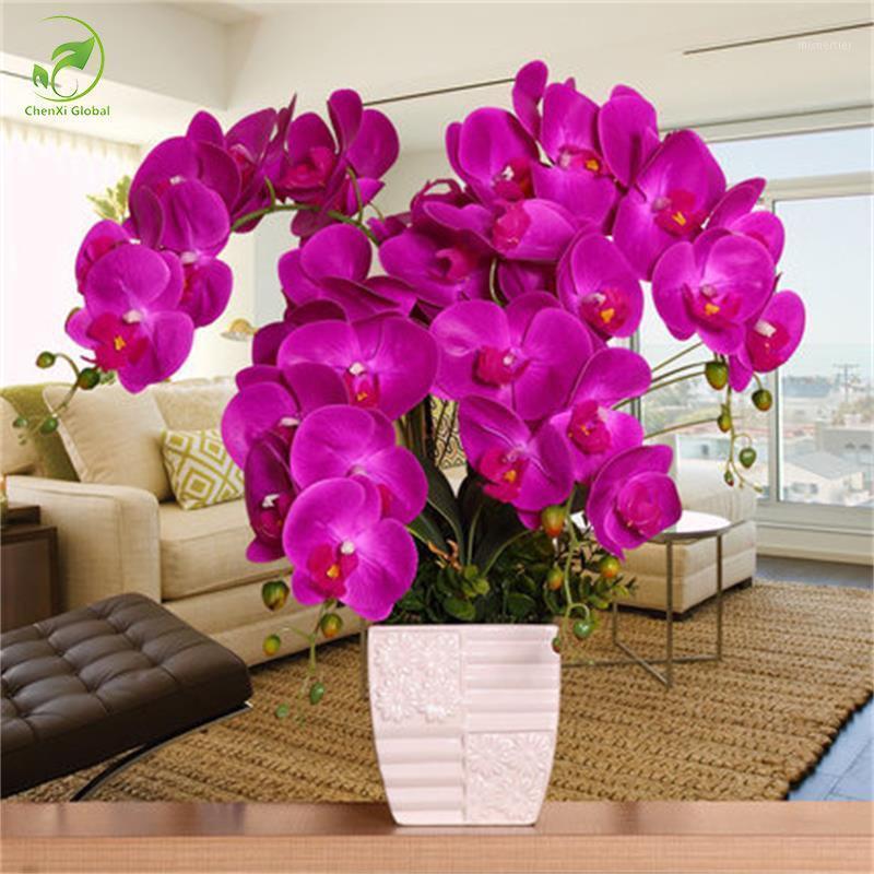 Orquídea de moda Flores artificiales DIY Artificial Mariposa Orquídea Seda Flor de Seda Ramo Phalaenopsis Boda Decoración del hogar1
