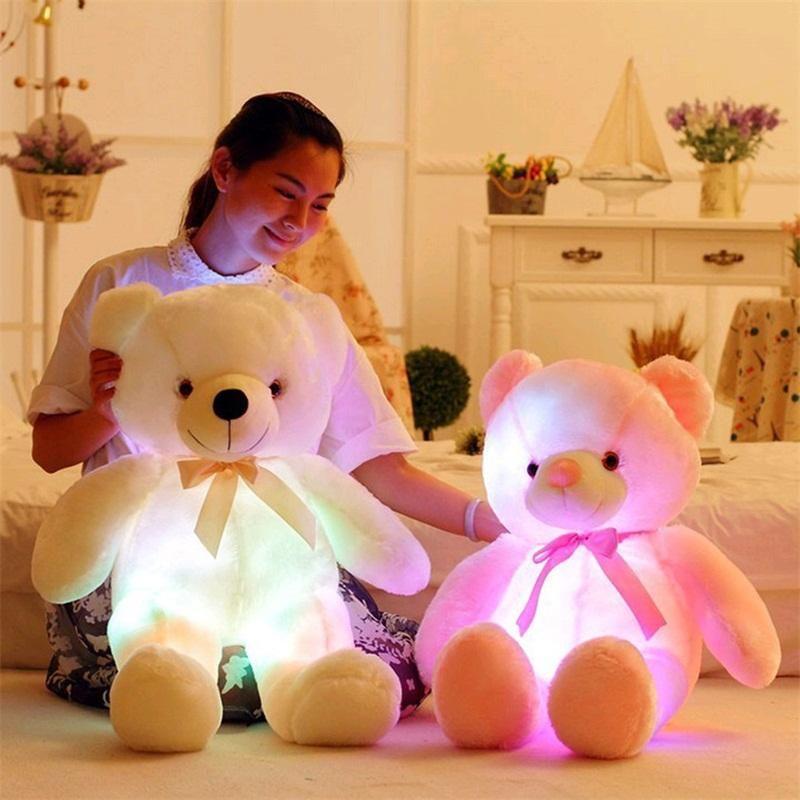 50cm animal brillante stuffeed llevó luz intermitente lindo peluche para arriba al niño muñecas del oso del juguete del bebé juguete regalo para las fiestas de cumpleaños coloful de peluche