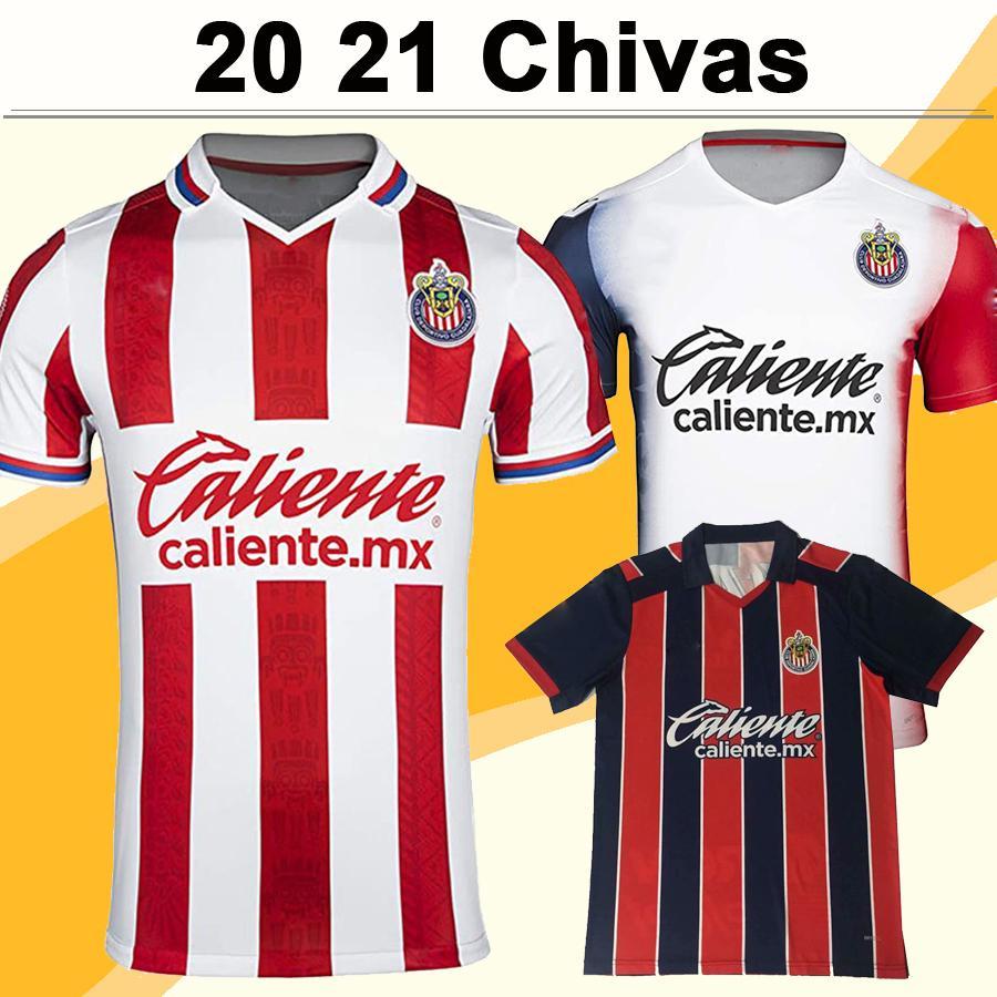 20 21 A. PULIDO LOPEZ Mens Soccer Jerseys Chivas de Guadalajara Home Red White Away 3rd Red Black Football Shirt Short Sleeve Uniforms
