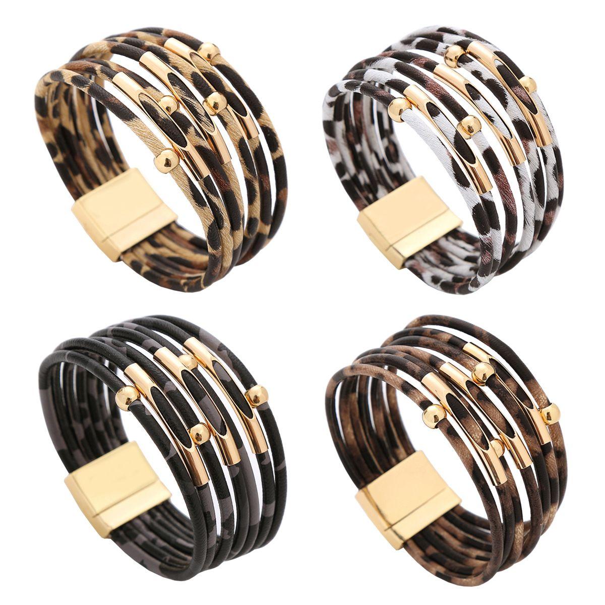 New Design Leopard Pattern Magnet Buckle Bracelet Female PU Leather Charms Bracelets Copper Beaded Multi-layer Bangle Bracelet