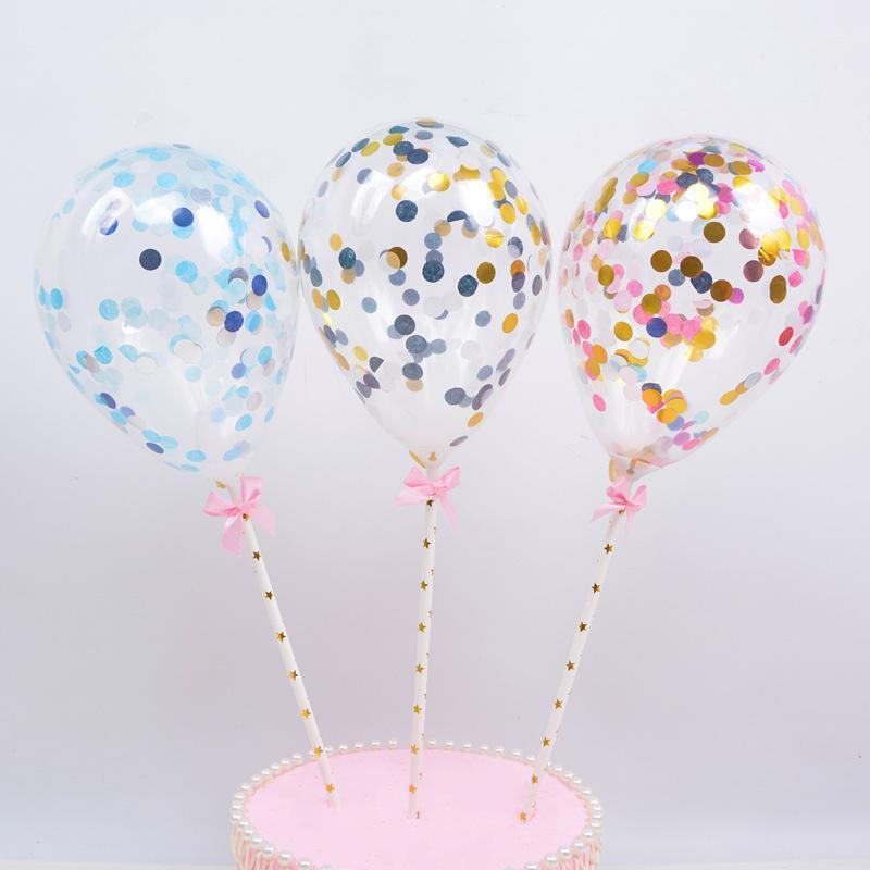 5 pz / 10pcs 5 pollici mini coriandoli palloncini in lattice con paglia per il compleanno festa di nozze cake topper decorazioni Bady doccia forniture1