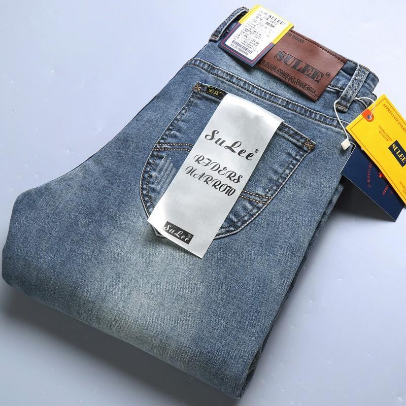Erkek Yeni Moda Düz İnce Jeans Yüksek Kaliteli Stretch İş Casual Klasik Mavi Siyah Pantolon 9 Renkler 28-40 Marka Men