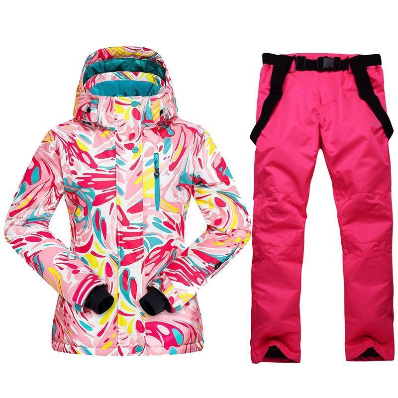 Costume de ski pour les femmes d'hiver chaud coupe-vent Veste imperméable Snowboard + Pantalons Set Femmes Sports de plein air Ski de motoneige Costume neige