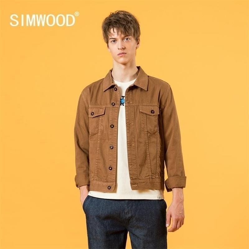 Simwood Sonbahar Yeni Trucker Ceket Erkekler Vintage Konfeksiyon Yıkanmış Kısa Slim Fit Ceketler Artı Boyutu 100% Pamuk Giyim 201130